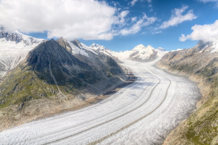 aletsch: concept for hiking, climbing, walkig and outdoor adventures:  panorama view above long Aletsch glacier Switzerland