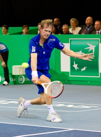 ZURICH, SWITZERLAND-MARCH 24: Stefan Edberg plays tennis in final of BNP Paribas Open Champions Tour aganinst Carlos Moyain Zurich, SUI on March 24, 2012.  He lost the match for medical reasons. Stock Photo - 12779590