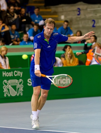 paribas: ZURICH, SWITZERLAND-MARCH 24: Stefan Edberg plays tennis in final of BNP Paribas Open Champions Tour aganinst Carlos Moya in Zurich, SUI on March 24, 2012.  He lost the match for medical reasons.     Editorial