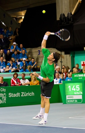 paribas: ZURICH, SWITZERLAND-MARCH 24: Carlos Moya plays tennis in final of BNP Paribas Open Champions Tour aganinst Stefan Edberg in Zurich, SUI on March 24, 2012.  He won the match for medical reasons.