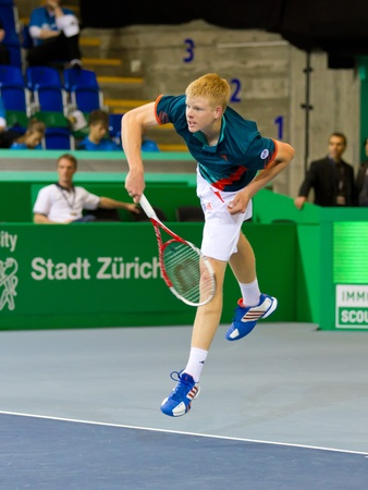 paribas: ZURICH, SWITZERLAND-MARCH 24: Kyle Edmund plays tennis in final of BNP Paribas Open Champions Tour against Mitchell Krueger in Zurich, SUI on March 24, 2012.  He won the title in category talents.