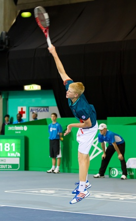 kyle: ZURICH, SWITZERLAND-MARCH 24: Kyle Edmund plays tennis in final of BNP Paribas Open Champions Tour against Mitchell Krueger in Zurich, SUI on March 24, 2012.  He won the title in category talents.