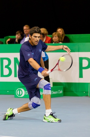 ZURICH, SWITZERLAND-MARCH 24: Mark Philippoussis plays tennis for 3rd place at BNP Paribas Open Champions Tour against Marat Safin in Zurich, SUI on March 24, 2012.  He won mainly to his strong serve.