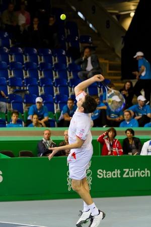 paribas: ZURICH, SWITZERLAND-MARCH 24: Tim Henman plays tennis in double final of BNP Paribas Open Champions Tour aganinst Henri Leconte in Zurich, SUI on March 24, 2012.  Duo Henman, Edwards won the title. Editorial