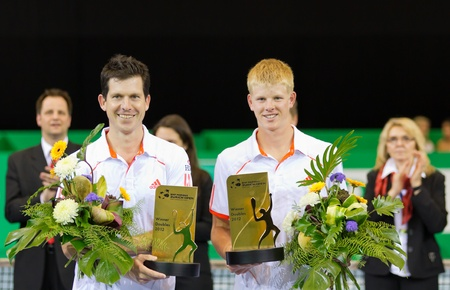 ZURICH, SWITZERLAND-MARCH 24: Award ceremony for double competition pairing champs and talents winner Tim Henman (l.), K. Edwards at BNP Paribas Open Champions Tour in Zurich, SUI on March 24, 2012.  Stock Photo - 12818448
