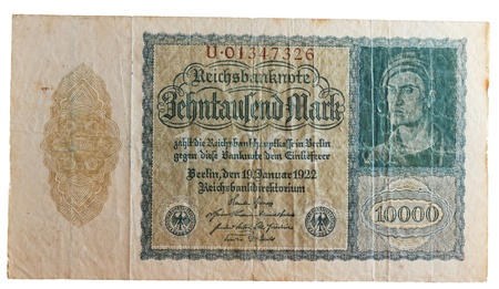 deflation: historic German ten thousand Deutsch Mark bill, concept for inflation and money devaluation, deflation and depreciation