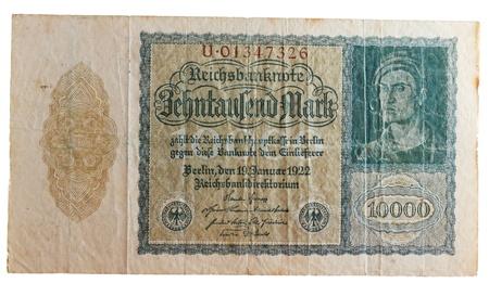 historic German ten thousand Deutsch Mark bill, concept for inflation and money devaluation, deflation and depreciation photo
