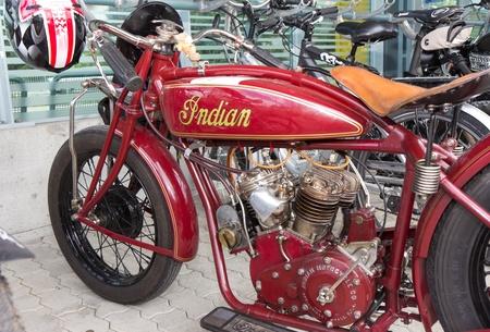 mutschellen: MUTSCHELLEN, SWITZERLAND-APRIL 29: Vintage motorbike Indian Scout-Racer from 1926 on display at Grand Prix in Mutschellen, SUI on April 29, 2012.  Invited were vintage sports cars and motorbikes.