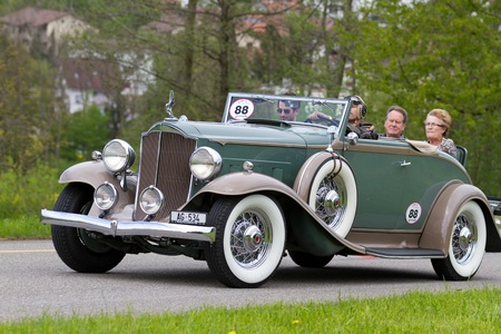 motorcar: MUTSCHELLEN, SWITZERLAND-APRIL 29: Vintage pre war race car Packard Cabriolet from  1932 at Grand Prix in Mutschellen, SUI on April 29, 2012.  Invited were vintage sports cars and motorbikes.