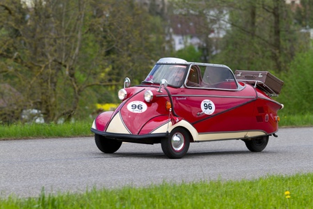 mutschellen: MUTSCHELLEN, SWITZERLAND-APRIL 29: Vintage car Messerschmitt KR 200 from 1955 at Grand Prix in Mutschellen, SUI on April 29, 2012.  Invited were vintage sports cars and motorbikes.