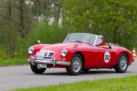 MUTSCHELLEN, SWITZERLAND-APRIL 29: Vintage car MG MGA 1600 from 1959 at Grand Prix in Mutschellen, SUI on April 29, 2012.  Invited were vintage sports cars and motorbikes. Stock Photo - 13491354