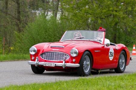 mutschellen: MUTSCHELLEN, SWITZERLAND-APRIL 29: Vintage car Austin Healey 3000 MK1 from 1960 at Grand Prix in Mutschellen, SUI on April 29, 2012.  Invited were vintage sports cars and motorbikes.