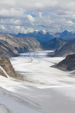 aletsch: View above great Aletsch glacier seen from Jungfraujoch, Switzerland