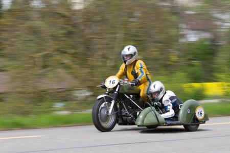 MUTSCHELLEN, SWITZERLAND-APRIL 29: Vintage motorbike Velox BSA WM 20  from 1952 on display at Grand Prix in Mutschellen, SUI on April 29, 2012.  Invited were vintage sports cars and motorbikes. Stock Photo - 13575552