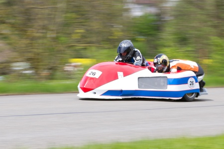 graf: MUTSCHELLEN, SWITZERLAND-APRIL 29: Vintage sidecar motorbike Fl�ckigerGraf FRG 500 from 1981 at Grand Prix in Mutschellen, SUI on April 29, 2012.  Invited were vintage sports cars and motorbikes. Editorial