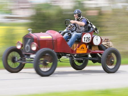 sui: MUTSCHELLEN, SWITZERLAND-APRIL 29: Vintage pre war race car Ford T Racer from  1918 at Grand Prix in Mutschellen, SUI on April 29, 2012.  Invited were vintage sports cars and motorbikes.