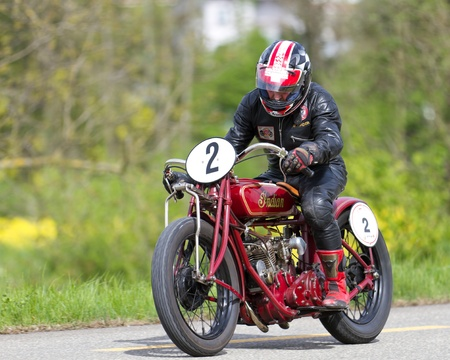 MUTSCHELLEN, SWITZERLAND-APRIL 29: Vintage motorbike Indian Scout-Racer from 1926 on display at Grand Prix in Mutschellen, SUI on April 29, 2012.  Invited were vintage sports cars and motorbikes. Stock Photo - 13575593