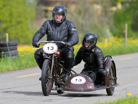 MUTSCHELLEN, SWITZERLAND-APRIL 29: Vintage sidecar motorbike Condor D 50 from 1931 at Grand Prix in Mutschellen, SUI on April 29, 2012.  Invited were vintage sports cars and motorbikes. Stock Photo - 13669377