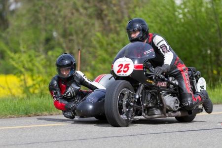 mutschellen: MUTSCHELLEN, SWITZERLAND-APRIL 29: Vintage sidecar motorbike Ducati Kneeler from 1975 at Grand Prix in Mutschellen, SUI on April 29, 2012.  Invited were vintage sports cars and motorbikes. Editorial