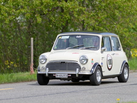 MUTSCHELLEN, SWITZERLAND-APRIL 29: Vintage race touring car Morris Mini Cooper S from 1969 at Grand Prix in Mutschellen, SUI on April 29, 2012.  Invited were vintage sports cars and motorbikes.