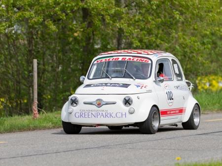 mutschellen: MUTSCHELLEN, SWITZERLAND-APRIL 29: Vintage race touring car Fiat Abarth 595 from 1965 at Grand Prix in Mutschellen, SUI on April 29, 2012.  Invited were vintage sports cars and motorbikes.
