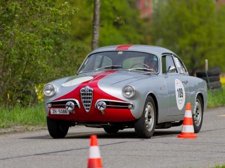 mutschellen: MUTSCHELLEN, SWITZERLAND-APRIL 29: Vintage race touring car Alfa Romeo Giulietta Sprint Veloce S1 from 1957 at Grand Prix in Mutschellen, SUI on April 29, 2012.  Invited were vintage sports cars and motorbikes. Editorial