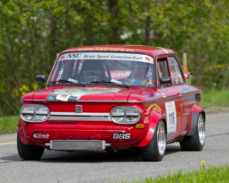 MUTSCHELLEN, SWITZERLAND-APRIL 29: Vintage race touring car NSU 1200 TT from 1971 at Grand Prix in Mutschellen, SUI on April 29, 2012.  Invited were vintage sports cars and motorbikes.