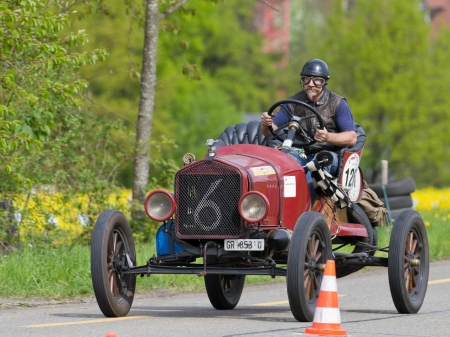 MUTSCHELLEN, SWITZERLAND-APRIL 29: Vintage pre war race car Ford T Racer from  1918 at Grand Prix in Mutschellen, SUI on April 29, 2012.  Invited were vintage sports cars and motorbikes.