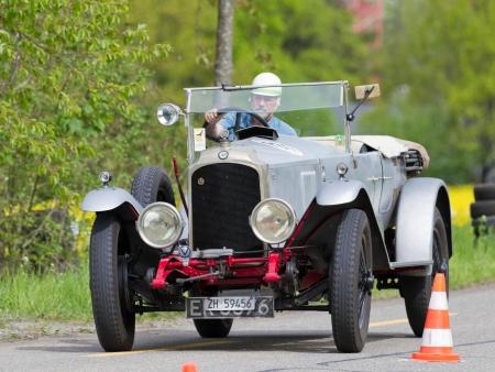 mutschellen: MUTSCHELLEN, SWITZERLAND-APRIL 29: Vintage pre war race car Vauxhall 30-98 Velox from  1925 at Grand Prix in Mutschellen, SUI on April 29, 2012.  Invited were vintage sports cars and motorbikes. Editorial
