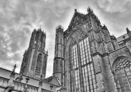 dom: Vintage black and white of dom tower and St. Martins Cathedral cathedral of Utrecht, Netherlands Stock Photo