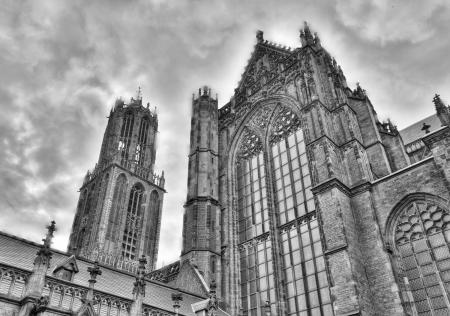 dom: Vintage noir et blanc de dom tour et Cathédrale Saint Martin cathédrale d'Utrecht, Pays-Bas