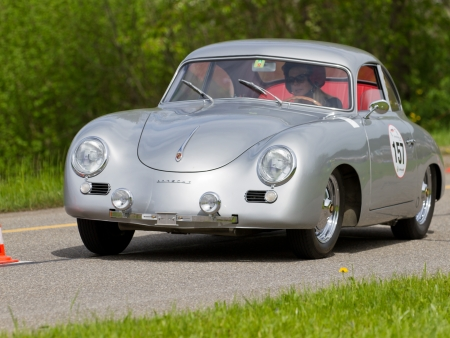 motorcar: MUTSCHELLEN, SWITZERLAND-APRIL 29: Vintage race touring car Porsche 356 PRE-A from 1954 at Grand Prix in Mutschellen, SUI on April 29, 2012.  Invited were vintage sports cars and motorbikes.