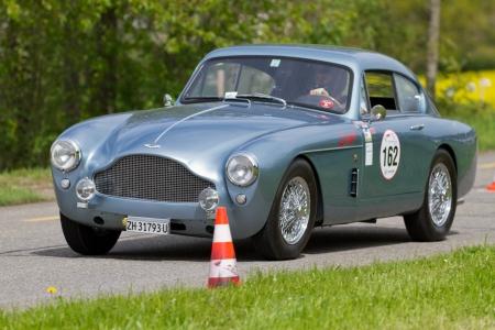 mutschellen: MUTSCHELLEN, SWITZERLAND-APRIL 29: Vintage race touring car Aston Martin DB2 MK III from 1958 at Grand Prix in Mutschellen, SUI on April 29, 2012.  Invited were vintage sports cars and motorbikes.