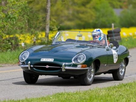 mutschellen: MUTSCHELLEN, SWITZERLAND-APRIL 29: Vintage race touring car Jaguar E-Type from 1963 at Grand Prix in Mutschellen, SUI on April 29, 2012.  Invited were vintage sports cars and motorbikes.