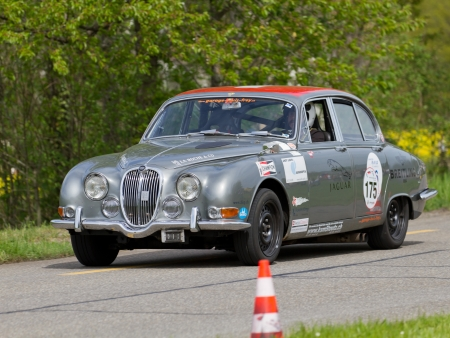mutschellen: MUTSCHELLEN, SWITZERLAND-APRIL 29: Vintage race touring car Jaguar 3.8 S from 1965 at Grand Prix in Mutschellen, SUI on April 29, 2012.  Invited were vintage sports cars and motorbikes.