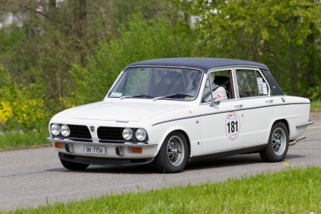 sui: MUTSCHELLEN, SWITZERLAND-APRIL 29: Vintage race touring car Triumph Dolomite Sprint from 1973 at Grand Prix in Mutschellen, SUI on April 29, 2012.  Invited were vintage sports cars and motorbikes. Editorial