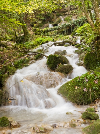fresh. clean, clear, forest stream splash down over moss covered stones in autumn woods photo