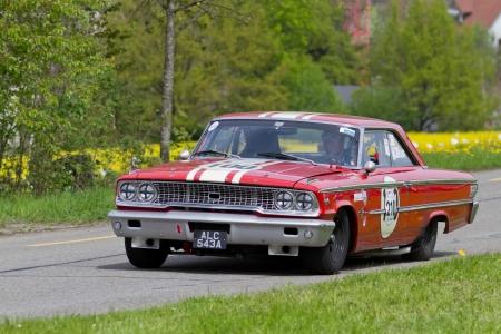 mutschellen: MUTSCHELLEN, SWITZERLAND-APRIL 29: Vintage race touring car Ford Galaxie 500427  from 1963 at Grand Prix in Mutschellen, SUI on April 29, 2012.  Invited were vintage sports cars and motorbikes. Editorial