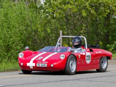 mutschellen: MUTSCHELLEN, SWITZERLAND-APRIL 29: Vintage race touring car Schai-Spezial DKW Eigenbau from 1964 at Grand Prix in Mutschellen, SUI on April 29, 2012.  Invited were vintage sports cars and motorbikes.