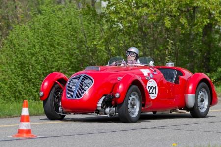 mutschellen: MUTSCHELLEN, SWITZERLAND-APRIL 29: Vintage race touring car Healey Silverstone Typ E from 1950 at Grand Prix in Mutschellen, SUI on April 29, 2012.  Invited were vintage sports cars and motorbikes.