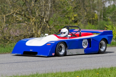 sui: MUTSCHELLEN, SWITZERLAND-APRIL 29: Vintage race car EBS Chevron B23 from 1971 at Grand Prix in Mutschellen, SUI on April 29, 2012.  Invited were vintage sports cars and motorbikes. Editorial