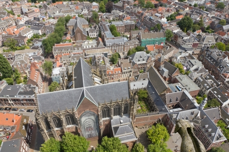 dom: Aerial view from Dom tower over Utrecht, Netherlands