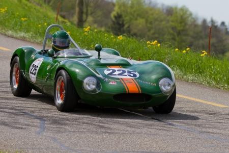 mutschellen: MUTSCHELLEN, SWITZERLAND-APRIL 29: Vintage race touring car Ginetta G4R from 1963 at Grand Prix in Mutschellen, SUI on April 29, 2012.  Invited were vintage sports cars and motorbikes. Editorial