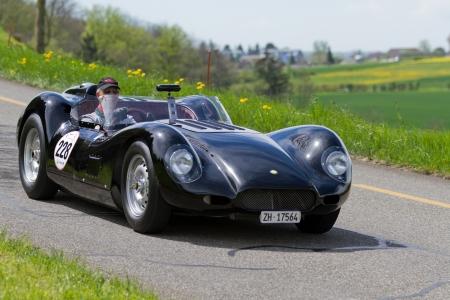 mutschellen: MUTSCHELLEN, SWITZERLAND-APRIL 29: Vintage race touring car Lister Jaguar Knobbly BHL 16 from 1958 at Grand Prix in Mutschellen, SUI on April 29, 2012.  Invited were vintage sports cars and motorbikes.