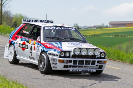 hf: MUTSCHELLEN, SWITZERLAND-APRIL 29: Vintage race touring carLancia Delta HF Integrale from 1988 at Grand Prix in Mutschellen, SUI on April 29, 2012.  Invited were vintage sports cars and motorbikes.