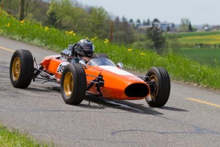 mutschellen: MUTSCHELLEN, SWITZERLAND-APRIL 29: Vintage race car Hirzel P17 Formel 3 from 1965 at Grand Prix in Mutschellen, SUI on April 29, 2012.  Invited were vintage sports cars and motorbikes. Editorial