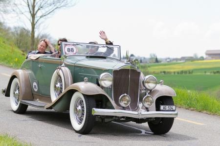mutschellen: MUTSCHELLEN, SWITZERLAND-APRIL 29: Vintage pre war race car Packard Cabriolet from  1932 at Grand Prix in Mutschellen, SUI on April 29, 2012.  Invited were vintage sports cars and motorbikes.