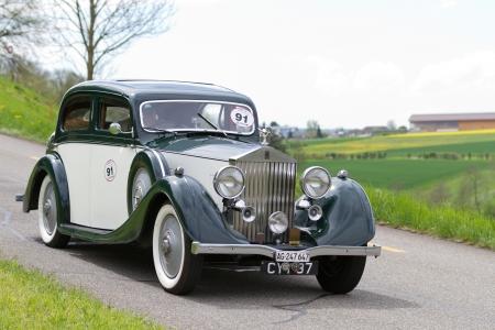 mutschellen: MUTSCHELLEN, SWITZERLAND-APRIL 29: Vintage pre war race car Rolls-Royce 2530 from  1936 at Grand Prix in Mutschellen, SUI on April 29, 2012.  Invited were vintage sports cars and motorbikes.