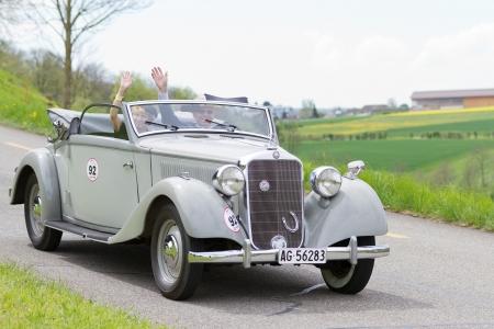 mutschellen: MUTSCHELLEN, SWITZERLAND-APRIL 29: Vintage car Mercedes-Benz 230 from 1937 at Grand Prix in Mutschellen, SUI on April 29, 2012.  Invited were vintage sports cars and motorbikes.