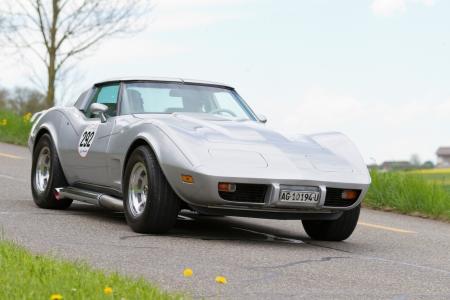 mutschellen: MUTSCHELLEN, SWITZERLAND-APRIL 29: Vintage  car Chevrolet Corvette from  1979 at Grand Prix in Mutschellen, SUI on April 29, 2012.  Invited were vintage sports cars and motorbikes.